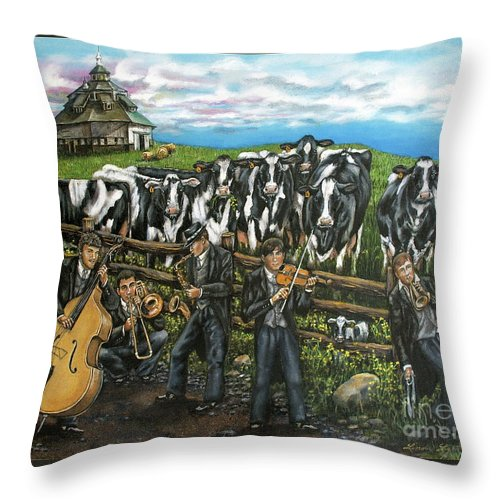 Linda Simon Throw Pillow featuring the painting Semi-formal by Linda Simon