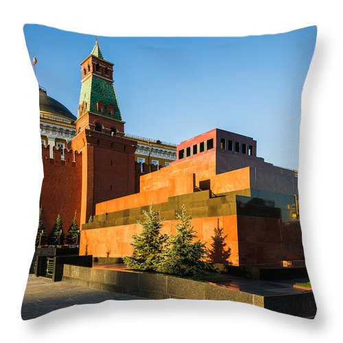 Architecture Throw Pillow featuring the photograph Senate Tower And Lenin's Mausoleum by Alexander Senin