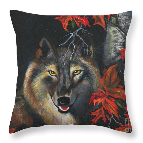 Wolf Throw Pillow featuring the painting Seneca by Lora Duguay