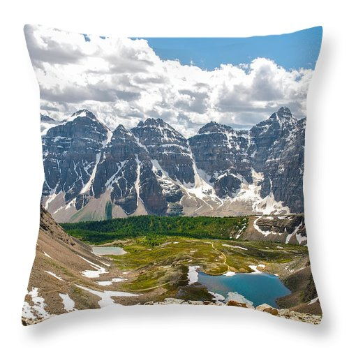 Canada Throw Pillow featuring the photograph Sentinel Pass And Larch Valley by Andre Distel