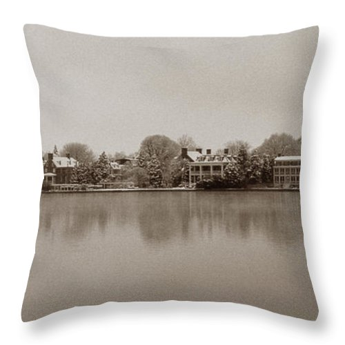 Scenic Tours Throw Pillow featuring the photograph Sepia Chestertown Waterfront by Skip Willits