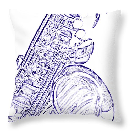 Tenor Sax Throw Pillow featuring the photograph Sepia Tone Drawing Of A Tenor Saxophone 3356.03 by M K Miller