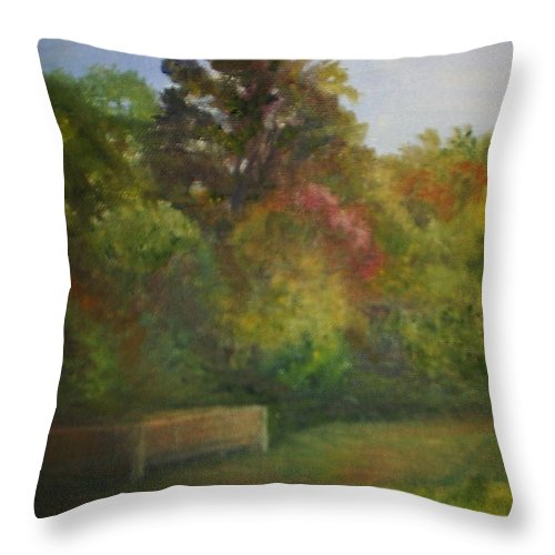 September Throw Pillow featuring the painting September at Smithville Park by Sheila Mashaw