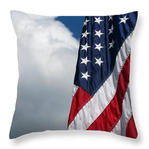 Art For The Wall...patzer Photography Throw Pillow featuring the photograph September Flag by Greg Patzer