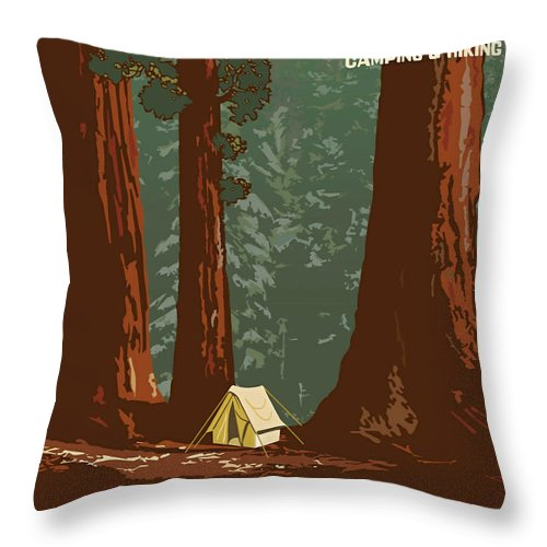 Posters Throw Pillow featuring the painting Sequoia National Park by Vintage Printery