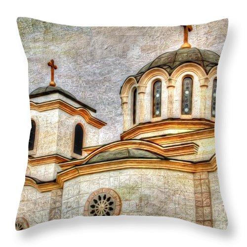 Serbian Orthodox Church Throw Pillow featuring the photograph Serbian Orthodox Church - San Marcos California by L Wright