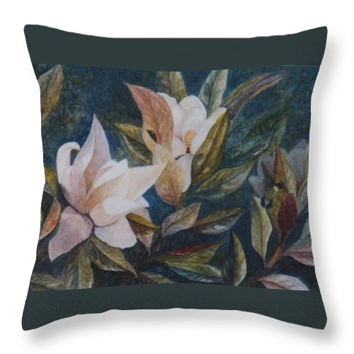 Magnolias; Humming Bird Throw Pillow featuring the painting Serenity by Ben Kiger