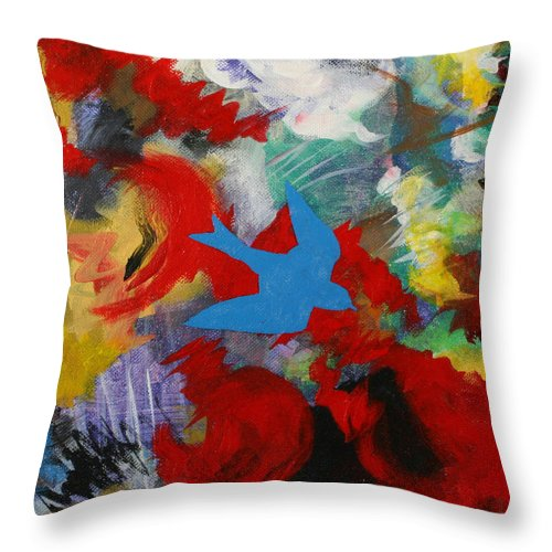 Blue Throw Pillow featuring the painting Serenity by Julianne Hunter