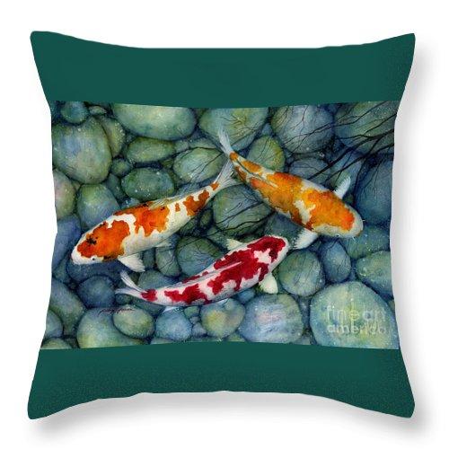 Koi Throw Pillow featuring the painting Serenity Koi by Hailey E Herrera