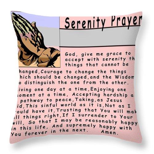 Barbara Snyder Throw Pillow featuring the digital art Serenity Prayer by Barbara Snyder