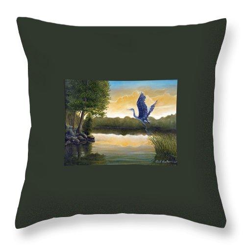 Rick Huotari Throw Pillow featuring the painting Serenity by Rick Huotari