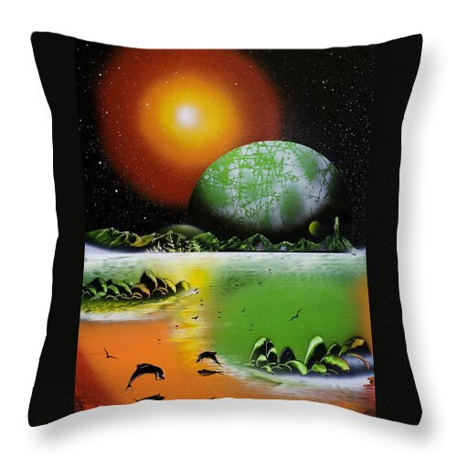 Throw Pillow featuring the painting Serenity by Ronny Or Haklay