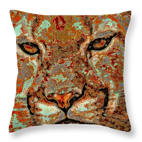 Cats Throw Pillow featuring the mixed media Serenity by Wendie Busig-Kohn