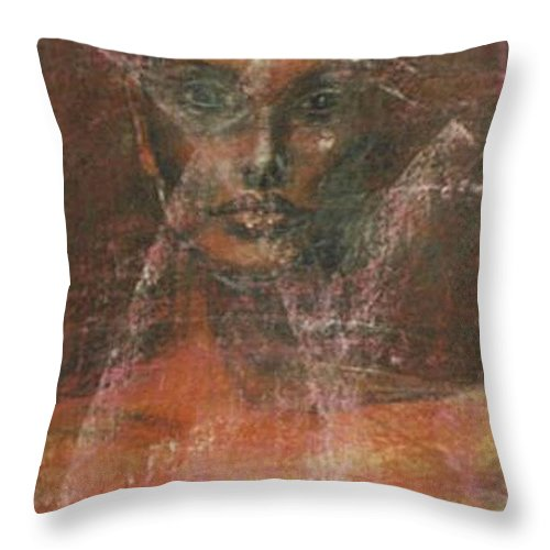 Portrait Art Throw Pillow featuring the painting Serious Bride Mirage by Jarmo Korhonen aka Jarko
