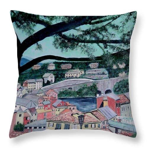 Italy Throw Pillow featuring the painting Sestri Levante by Laurie Morgan