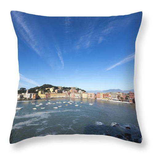Village Throw Pillow featuring the photograph Sestri Levante With Clouds by Mats Silvan