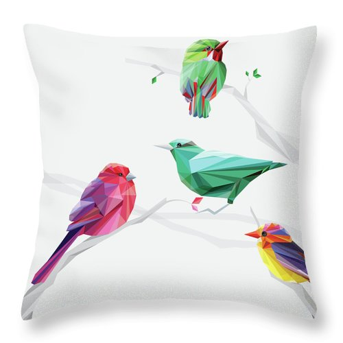 Funky Throw Pillow featuring the digital art Set Of Abstract Geometric Colorful Birds by Pika111
