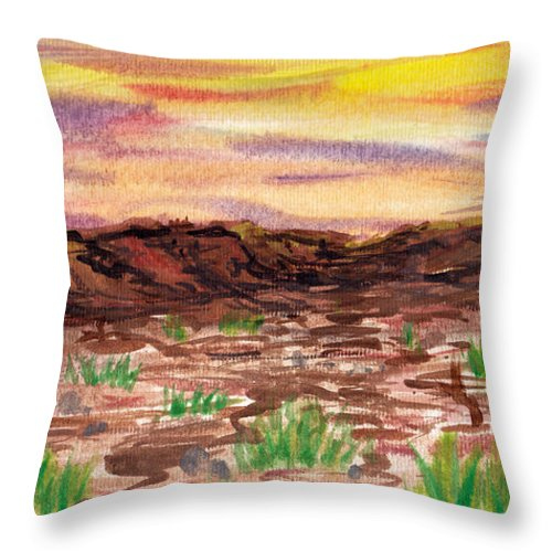 Western Throw Pillow featuring the painting Sets In The West by Andrew Worley