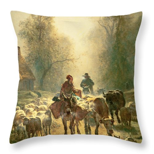 Setting Off For Market Throw Pillow featuring the painting Setting Off For Market by Constant-Emile Troyon
