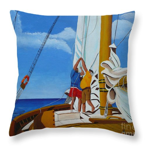 Sail Throw Pillow featuring the painting Setting Sail by Anthony Dunphy