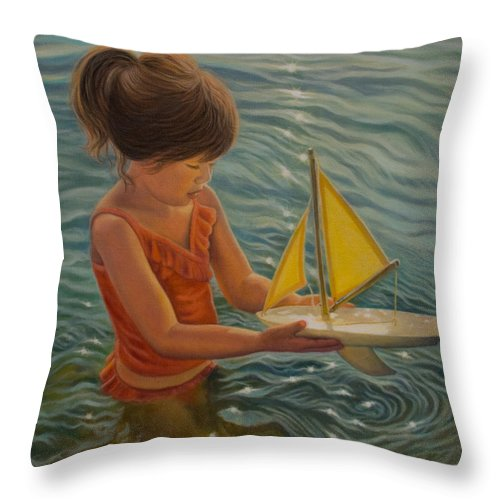 Realism Throw Pillow featuring the painting Setting Sail by Holly Kallie