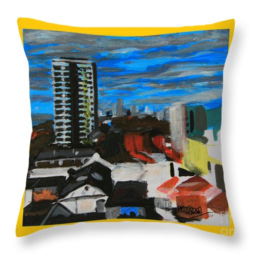 Settle Point Throw Pillow featuring the painting Settle Point - Plaistow East London by Mudiama Kammoh