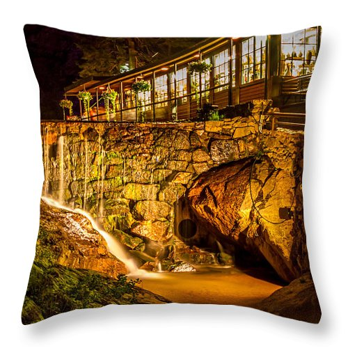 Seven Falls Throw Pillow featuring the photograph Seven Falls Visitors Center by Jeff Stoddart