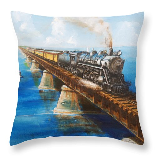 Florida Throw Pillow featuring the painting Seven Mile Bridge by Christopher Jenkins