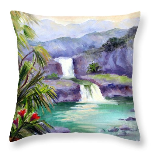 Hawaii Throw Pillow featuring the painting Seven Sacred Pools by Karin Leonard