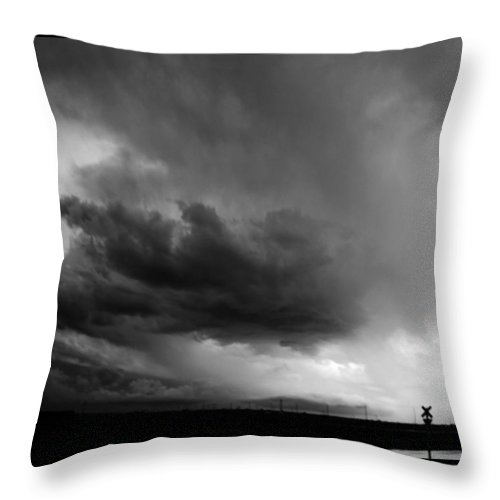 Stormscape Throw Pillow featuring the photograph Severe Storm Cells Developing Over South Central Nebraska by NebraskaSC