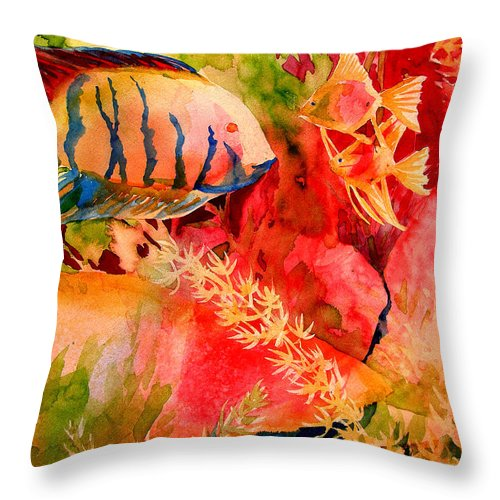 Fish Prints Throw Pillow featuring the painting Severums And Angels by Julianne Felton