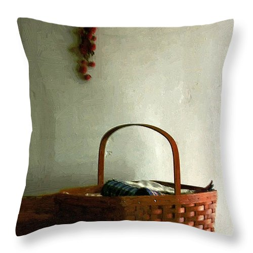 Americana Throw Pillow featuring the painting Sewing Basket In Sunlight by RC DeWinter