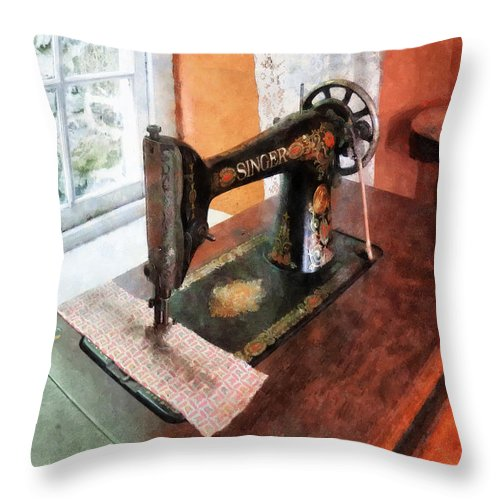Sewing Machine Throw Pillow featuring the photograph Sewing Machine Near Lace Curtain by Susan Savad