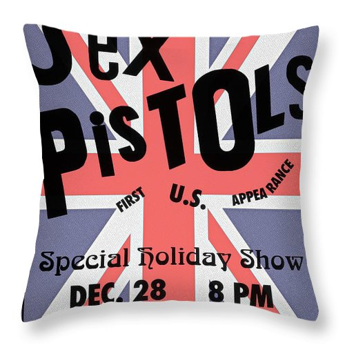 Sex Throw Pillow featuring the photograph Sex Pistols First Us Appearance by Bill Cannon
