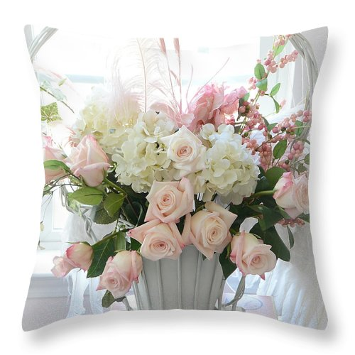 Pink White Roses Floral Wall Decor Throw Pillow featuring the photograph Shabby Chic Basket Of White Hydrangeas - Pink Roses - Dreamy Shabby Chic Floral Basket Of Roses by Kathy Fornal