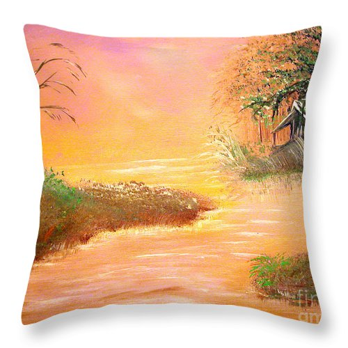 Winter Throw Pillow featuring the painting Shack In The Bayou At Dawn by Alys Caviness-Gober