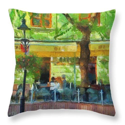 Bratislava Throw Pillow featuring the painting Shaded Cafe by Jeffrey Kolker