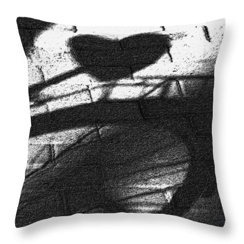 Bicycle Throw Pillow featuring the photograph Shadow Heart Advanced Pencil by David Lange