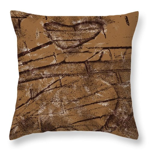 Bicycle Throw Pillow featuring the digital art Shadow Heart Chalk Sketch On Brown Paper by David Lange
