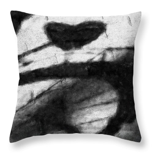 Bicycle Throw Pillow featuring the digital art Shadow Heart Graphite Drawing by David Lange