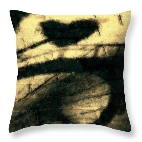 Bicycle Throw Pillow featuring the digital art Shadow Heart Pastel Chalk 1 by David Lange