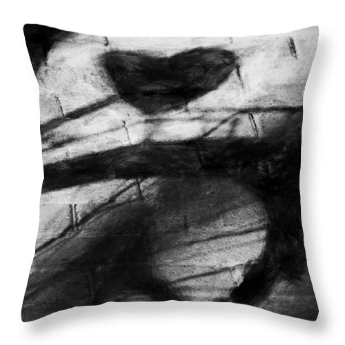Bicycle Throw Pillow featuring the digital art Shadow Heart Rough Charcoal by David Lange