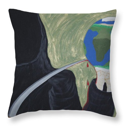 Painting Throw Pillow featuring the painting Shadow Of Fear by Dean Stephens