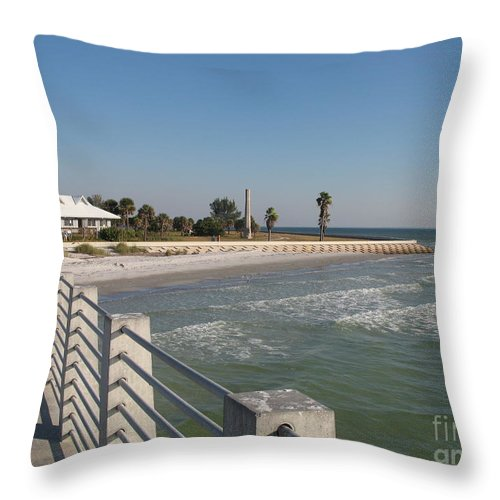 Pier Throw Pillow featuring the photograph Shadow On The Pier by Christiane Schulze Art And Photography