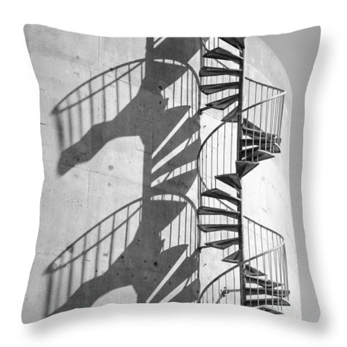 Shadow Throw Pillow featuring the photograph Shadowplay- Spiral Stairs by Bruce Frye