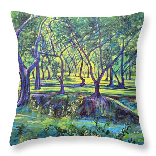 Landscape Throw Pillow featuring the painting Shadows At Noon - Indian Landscapes by Usha Shantharam