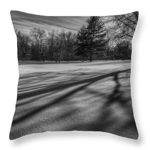 Black And White Throw Pillow featuring the photograph Shadows In The Park by Bill Wakeley