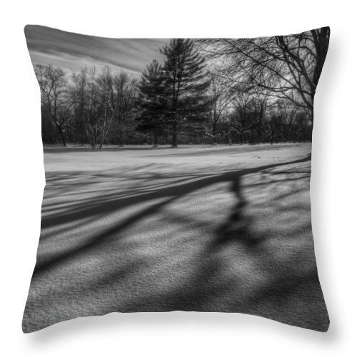 Black And White Throw Pillow featuring the photograph Shadows In The Park Square by Bill Wakeley