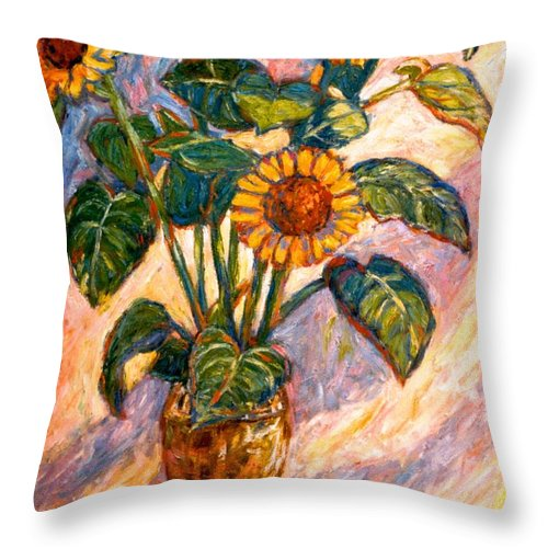 Floral Throw Pillow featuring the painting Shadows On Sunflowers by Kendall Kessler