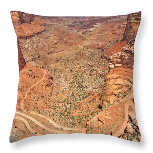 3scape Throw Pillow featuring the photograph Shafer Trail by Adam Romanowicz